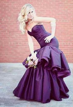 Sexy White and Purple Wedding Dress - http://casualweddingdresses ...