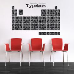 Periodic Table of Type Faces: via NOTCOT, very cool periodic table of type decals. Though I kinda just want the REAL periodic table on the wall :) Office Wall Decor, Office Walls, Perodic Table, Creative Walls, Creative Design, Cool Fonts, Diy Wall Art, Wall Treatments, Typography Design