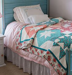 Star Squared - free pattern spring pastel quilt @Fons & Porter's Love of Quilting #aqua and #coral EEP!!