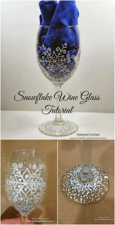 These 5 Christmas Wine Glass Makeovers Will Get You In The Festive Spirit! Diy Wine Glasses, Decorated Wine Glasses, Hand Painted Wine Glasses, Sharpie Wine Glasses, Wine Glass Crafts, Wine Craft, Wine Bottle Crafts, Wine Bottles, Vodka Bottle