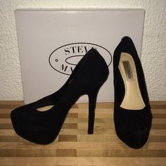 Steve Madden | black suede Babylonn high heels Babylonn high heels in suede. Worn a few times still have a lot of wear left in them No trades make me an offer!!!!  Steve Madden Shoes Platforms