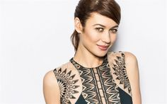 Download wallpapers Olga Kurylenko, portrait, black dress, beautiful woman, smile, French actress, fashion model