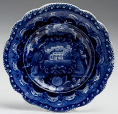 """Northeast Auctions 8/20/16 Lot: 93.   Estimate: $300 - $500. Realized: $330 (275).  Description:  'THREE STORY MANSION, SMALL EXTENSION TO LEFT- FULL BORDER' STAFFORDSHIRE DARK BLUE TRANSFER-PRINTED CUP PLATE. Impressed factory mark, """"2"""" in underglaze-blue. 4 ½"""" dia. Provenance: William & Teresa Kurau Antiques, January 25, 1987.  Literature: An identical cup plate is illustrated in Arman, """"Anglo-American Ceramic Cup Plates,"""" Part I, p. 9, n. 13; and in Wood, """"Historical China Cup Plates,"""" n…"""