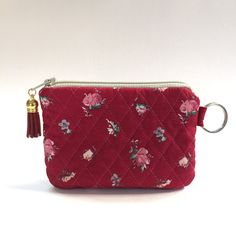 cotton, Zip Pouch small pink birthday red Red pink flowers Coin Purse Gadget bag handmade Card Wallet Travel Pass