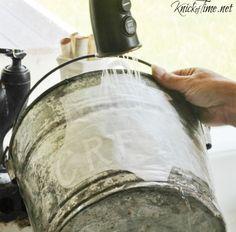 image transfer on galvanized bucket
