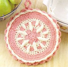 Pot Holders Crochet Patterns Book Hot Pads Squares Roll