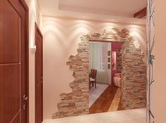 Искусственный камень в интерьере прихожей Foyer Design, Wall Design, House Design, Pallet Furniture, Modern Furniture, Interior Exterior, Interior Design, Diy Home Repair, Custom Wall