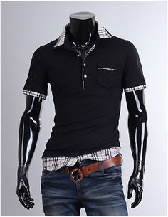 Men's Short Sleeve Layered Polo Shirt with Plaid