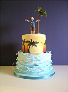 This cake presented a few more firsts for me. I used edible pigment dusts to brush on the sunset, and then free hand painted the palm trees over the top with edible paint. I kind of made the sugarpaste palm tree up as I went along, but was pleased...