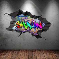 Personalised Name Full Colour Graffiti Wall Decals by GlitterBlast