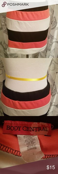 "Body Central Large Black White Pink Mini Skirt Condition: Excellent Used Condition  Brand: Body Central Color: Black, White, Pink Size: Large  Chic striped mini skirt by Body Central. Black, White, and pink stripes. Measures 13.5"" from top to bottom. Smoke free home. Body Central Skirts Mini"