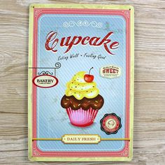 Retro decor Metal signs Vintage plaques Tin art wall sticker Cupcake home bar wall 20X30 CM  GY-00337 hot sale #Affiliate