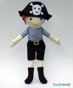 Items similar to Pirate Boy Fabric Doll With Removable Hat Trousers & Belt, rag doll, doll for boys, cloth doll, handmade doll on Etsy Pirate Boy, Fabric Dolls, Pirates, Hello Kitty, How To Remove, Baba, Textiles, Trending Outfits, Creative