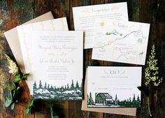 Oh So Beautiful Paper: Margaret + Glenn's Mountain-Inspired Wedding Invitations