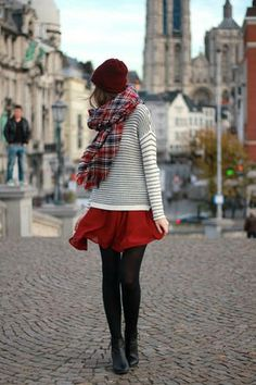 burgundy plaid / winter white stripes / red / black