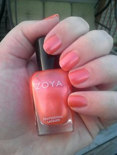 Zoya - Calypso -Bright yet soft looking light orange-coral with smooth, frosty metallic shimmer. A delicate orange that can be worn as a nearly-nude sheer. Color Family Corals Finish Metallic Intensity 3 ( 1=Sheer - 5=Opaque ) Tone Warm Original Collection Sirens DISCONTINUED
