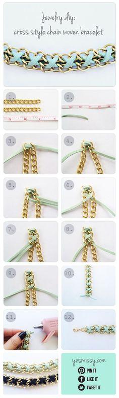 #DIY Bracelet: Cross Style Chain Woven Bracelet - Pulseira de corrente dupla e camurça - do site YesMissy