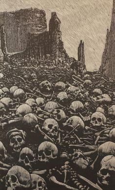 the Valley of Dry Bones by Barry Moser Fantasy Kunst, Dark Fantasy Art, Arte Horror, Horror Art, Art And Illustration, Valley Of Dry Bones, Dance Of Death, Satanic Art, Esoteric Art