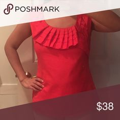 Anthropologie orange top Anthropologie Baraschi orange top. 100% cotton, side zip for a nice fit. Perfect for a warm day. Looks great with blue, black or white jeans/shorts. Size 6, in between a S and M. Like new Anthropologie Tops Blouses
