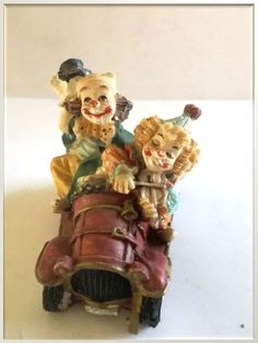 Mid 20th Century - Red Clown Car Resin Figurine  Dimensions +/- .  70 x 50 x 54 (mm) :  2,6 x 1,97 x 2,13  (inch) Weight +/- .  61 g : 2,15  ounces