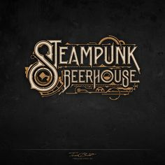 Steampunk Beer House on Behance Tattoo Lettering Fonts, Graffiti Lettering, Types Of Lettering, Hand Lettering, Steampunk Font, Arte Steampunk, Steampunk Design, Graphic Design Typography, Logo Design