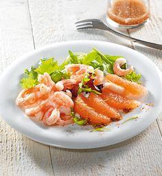 Salade de pamplemousse et crevettes.