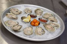 Fresh shucked Oysters on ice
