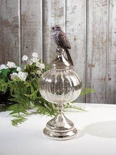 Mercury Glass Finial with Bird Perched on top