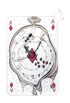 Salvador Dali Playing Cards: Ace of Diamonds, King of Diamonds, Queen of Diamonds and Jack of Diamonds Original