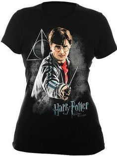 Harry Potter Deathly Hallows Black Juniors Graphic T-Shirt Harry Potter Jacket, Harry Potter Glasses, Harry Potter Outfits, Harry Potter Deathly Hallows, Harry Potter Hogwarts, Graphic Tees, Ebay, Mens Tops, T Shirt