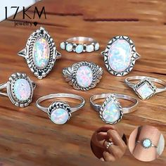 17KM New Design Vintage Opal Knuckle Rings Set For Women Boho Geometric Pattern Flower Rings Party Bohemian Jewelry 8 PCS/Set  Price: 9.90 & FREE Shipping   #bohogipsy #Boho #Bohochic