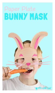 PAPER PLATE BUNNY RABBIT MASK with whiskers - great for imaginative play. A fun paper plate Easter bunny rabbit craft for kids.