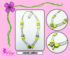 candy yellow necklace  www.facebook.com/kittykitzinfo