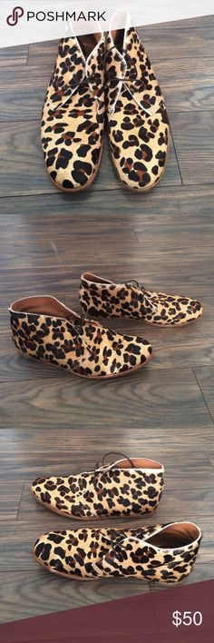 Men's leopard shoes I believe the fabric is horse hair. Made in Portugal size 44. Worn but not major flaws plenty of life left Opening Ceremony Shoes