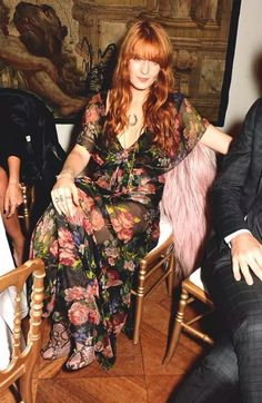 Florence at the Gucci/Frieze show with a pink goat-hair Gucci coat worth £4000!!!