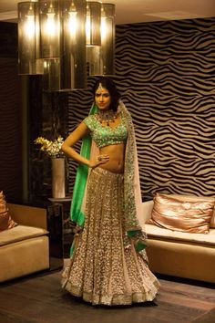 Bridal green and silver designer lehenga