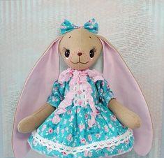 Animal art doll rabbit Dressed stuffed toy rabbit Posable art dolls Blue Pink Birthday gift for girl
