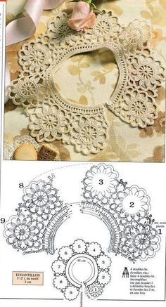 Crochet Collar Pattern, Col Crochet, Crochet Lace Collar, Crochet Motifs, Crochet Borders, Crochet Blouse, Crochet Doilies, Crochet Flowers, Crochet Stitches