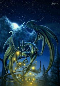 Firefly Dragon ~ Twinkle Twinkle Little Star #Dragons I didn't see who the artist is, but I really like this one.