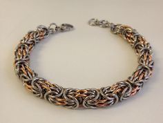 Heavy Metal Bracelet, Stainless Steel and Copper Bracelet, Tryzantine Chainmaille, Mens Jewelry, Stainless Steel Chain, Mixed Metal by JCLeecollection on Etsy