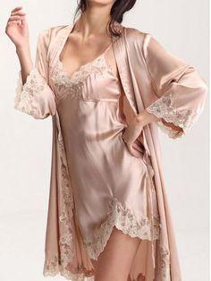 Pink Night-Robe And Crochet Lace Dress Two-piece Sleepwear - white lingerie outfit, lingerie en ligne, pretty intimates *ad Lingerie Satin, Lingerie Chic, Lingerie Fine, Pretty Lingerie, Beautiful Lingerie, Lingerie Sleepwear, Luxury Nightwear, Silk Sleepwear, Women Lingerie