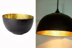 Pour créer de magnifiques luminaires noirs et dorés dans votre salon, rien de plus simple ! Un saladier, une perceuse et du matériel électrique et le tour