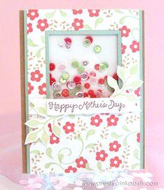 Happy Mother's Day Sequin Shaker card #sequins #denamidesign www.prettypinkposh.com