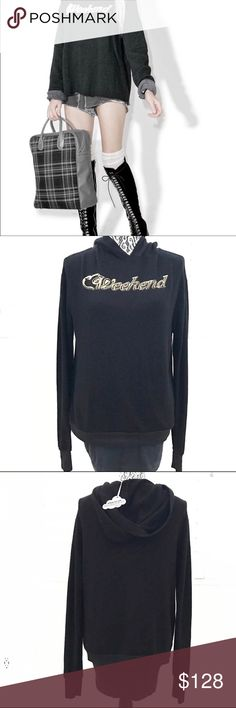 """WILDFOX Weekend hoodie black gold jumper Who doesn't love a good jumper from Wildfox? This is what they are known for. The Weekend hoodie is our spirit animal. Wear it during the weekend or whenever! New with tags and never been worn.   Pit to pit 20"""" Sleeve 25.5"""" Shoulder 20"""" Length 22.5""""  Tags: jumper , long sleeve , thermal , fall , winter , spring , beach , cozy , loungewear , athleisure Wildfox Sweaters"""