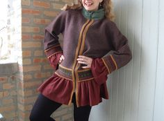Womens zippered cardigan in recycled, felted knits, size x-large, cocoa, rust, gold and green. $268.00, via Etsy.