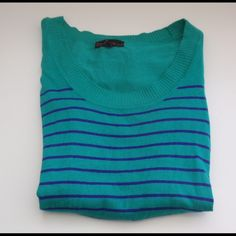 Green and Purple Pullover Boat neck. Green and purple stripes w/ ribbed sides design. Tops