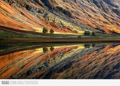 Incredibly calm lake in Glen Coe, Scotland.