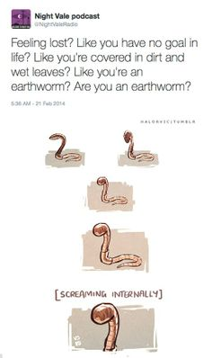 """""""Feeling lost? Like you have no goal in life? Like you're covered in dirt and wet leaves? Like you're an earthworm? Are you an earthworm?"""" #nightvale"""