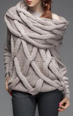 Twist Wave Slash Collar Faux Scarf Pullover Sweater