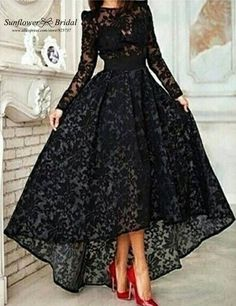 long prom dresses 2016 on sale at reasonable prices, buy Hot Sale Black Lace Long Prom Dresses 2016 Long Sleeve Vestidos Lace Hi Lo Party Gown Special Occasion Dresses Evening Dress from mobile site on Aliexpress Now! Cheap Gowns, Lace Evening Gowns, Prom Dresses Long With Sleeves, Dress Long, Black Gown With Sleeves, Party Gowns, Dress Party, Prom Party, Party Wear